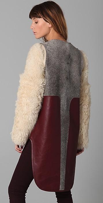 Rag & Bone Barswood Haircalf & Leather Coat