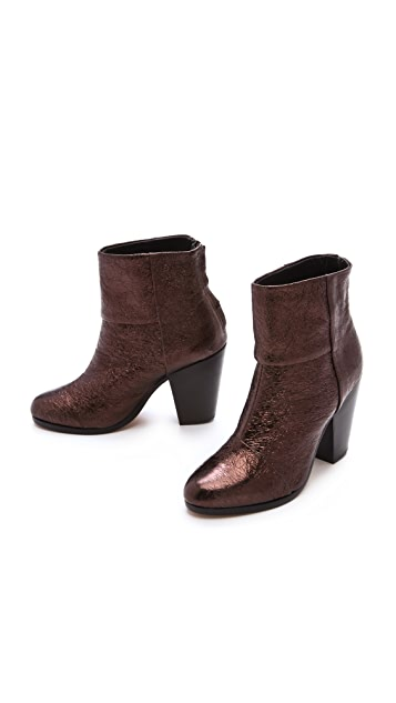 Rag & Bone Classic Newbury Booties in Crinkled Metallic
