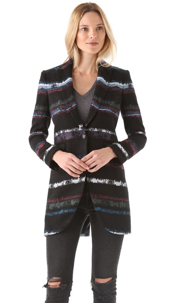 Rag & Bone Striped Smoking Coat