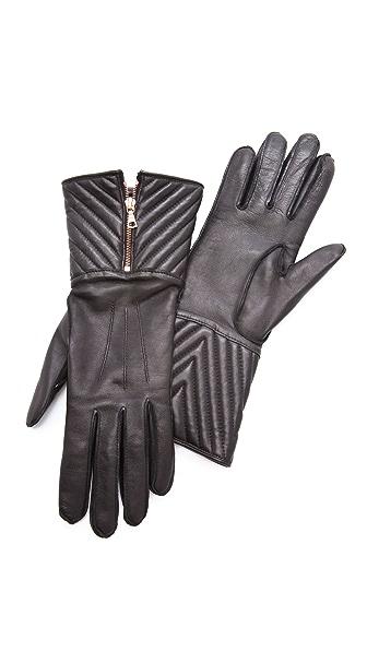 Rag & Bone Chevron Quilted Zip Gloves