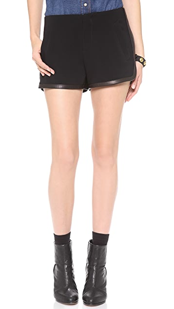 Rag & Bone Lacrosse Leather Trim Shorts