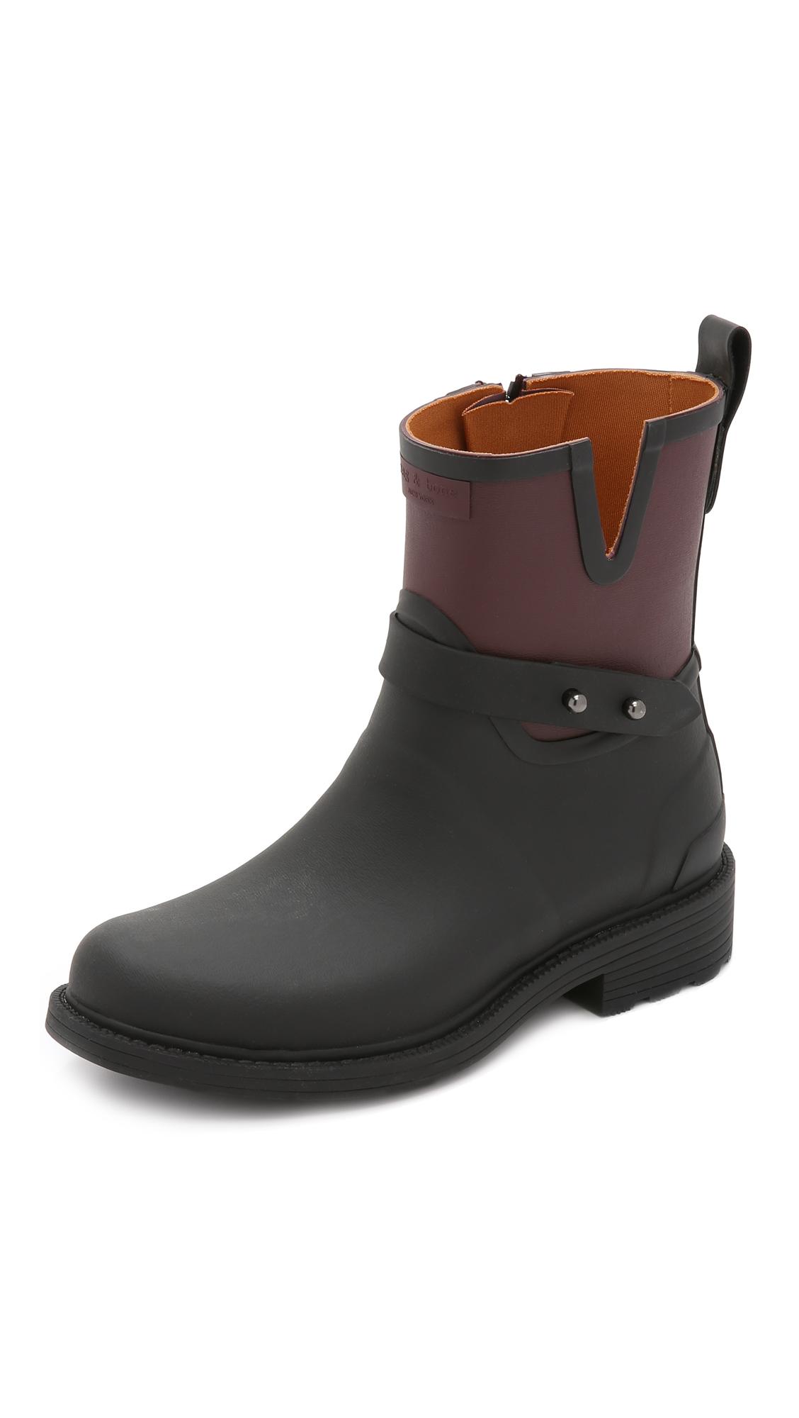 Rag Bone Moto Rain Boots Shopbop D Island Shoes Chukka Slip On Dark Brown Leather