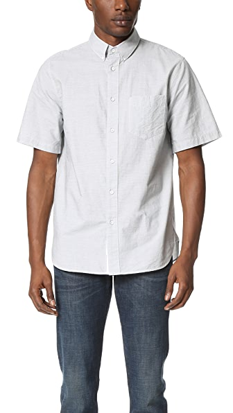 Rag & Bone Short Sleeve Button Down Oxford Shirt