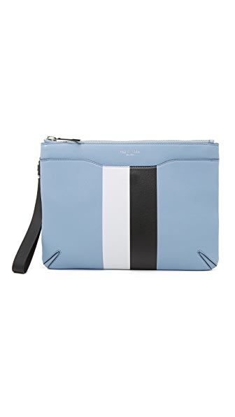 Rag & Bone Zip Clutch - Light Blue