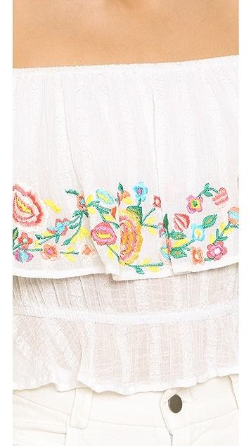 RahiCali Embroidered Off Shoulder Top