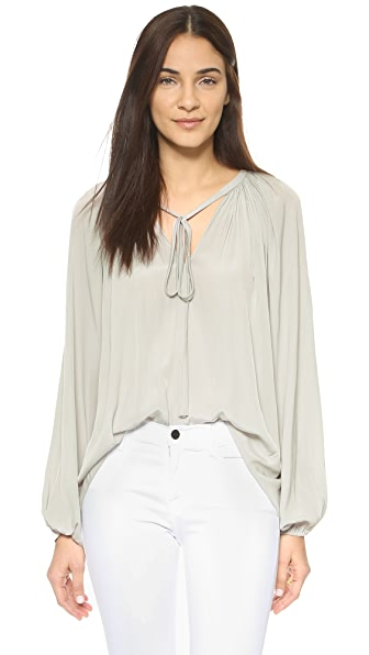 Ramy Brook Paris V-Neck Caftan Blouse - Light Grey