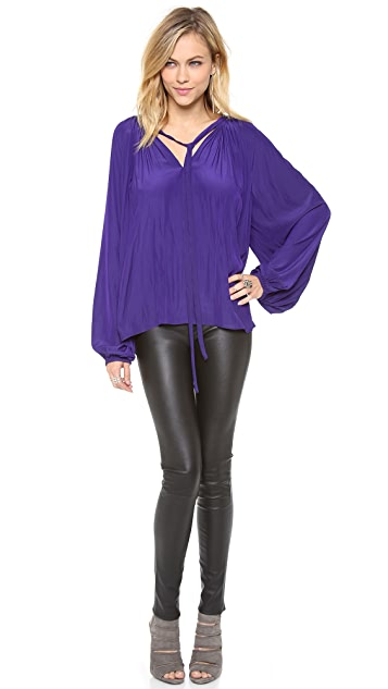 Ramy Brook V Neck Caftan Blouse