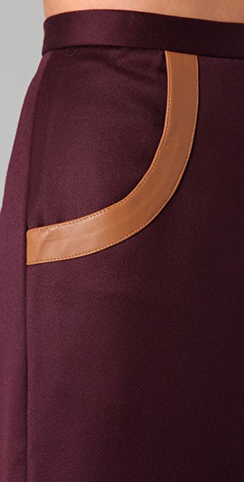 Raoul Graphic Combo Skirt with Leather Trim