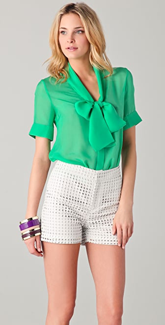 Raoul Short Sleeve Tie Neck Blouse