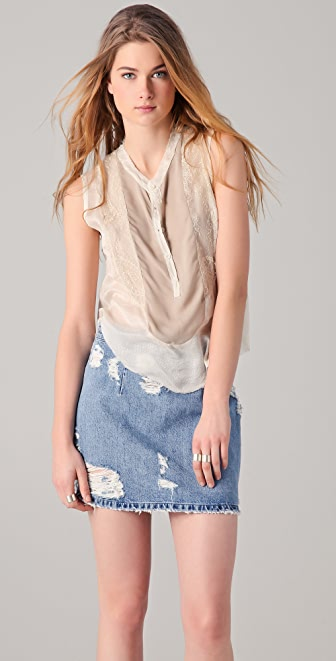Raquel Allegra Applique Sleeveless Blouse