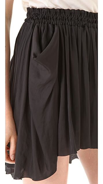 Raquel Allegra Liquid Satin Shirred Skirt