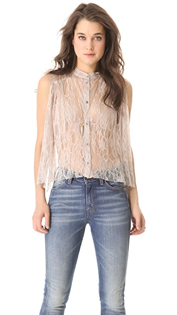 Raquel Allegra Shirred Lace Blouse