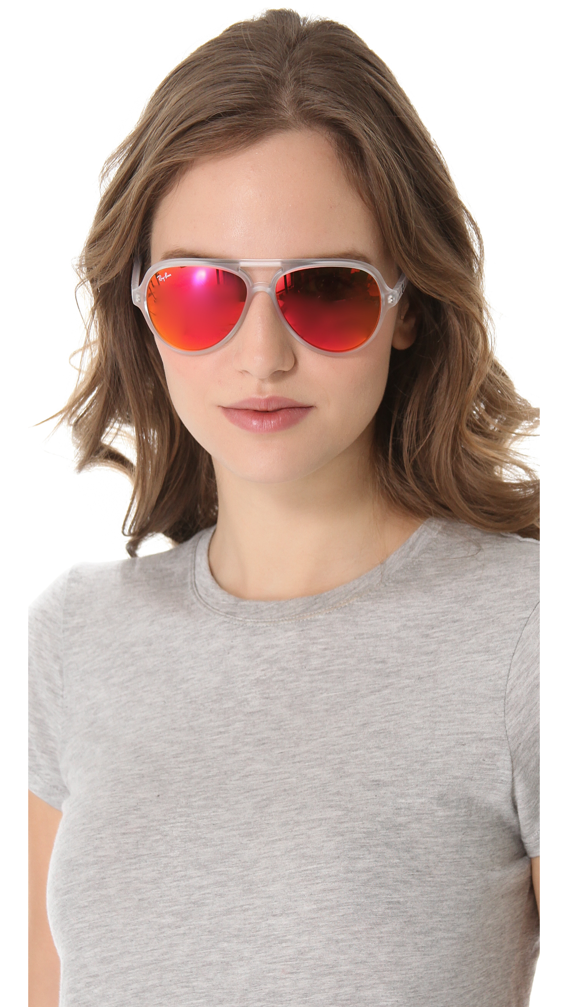 ray ban aviator sunglasses womens  Ray-Ban Mirrored Cats 5000 Aviator Sunglasses