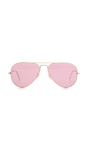 Ray-Ban Polarized Crystal Aviator Sunglasses