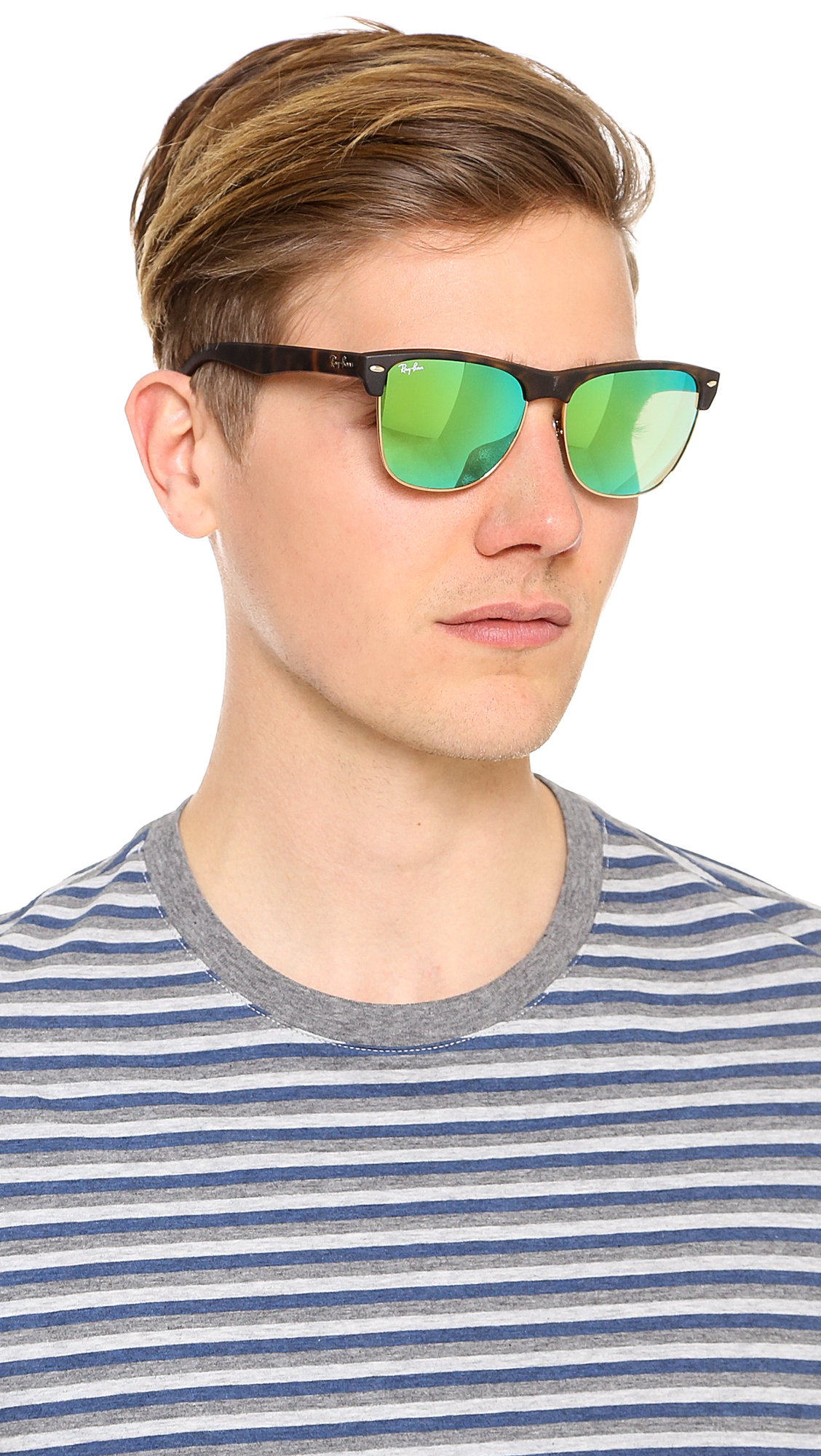 ray ban oversized clubmaster sunglasses  Ray-Ban Oversized Clubmaster Sunglasses with Mirrored Lens