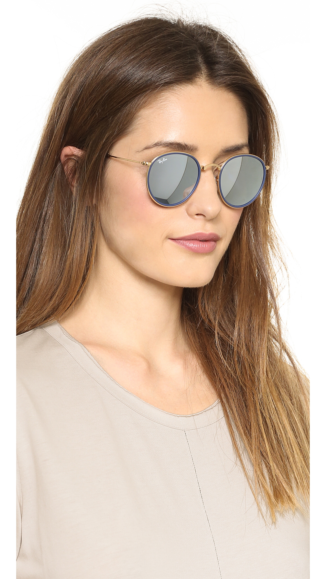 mirror sunglasses for women  Ray-Ban Mirrored Round Foldable Icon Sunglasses