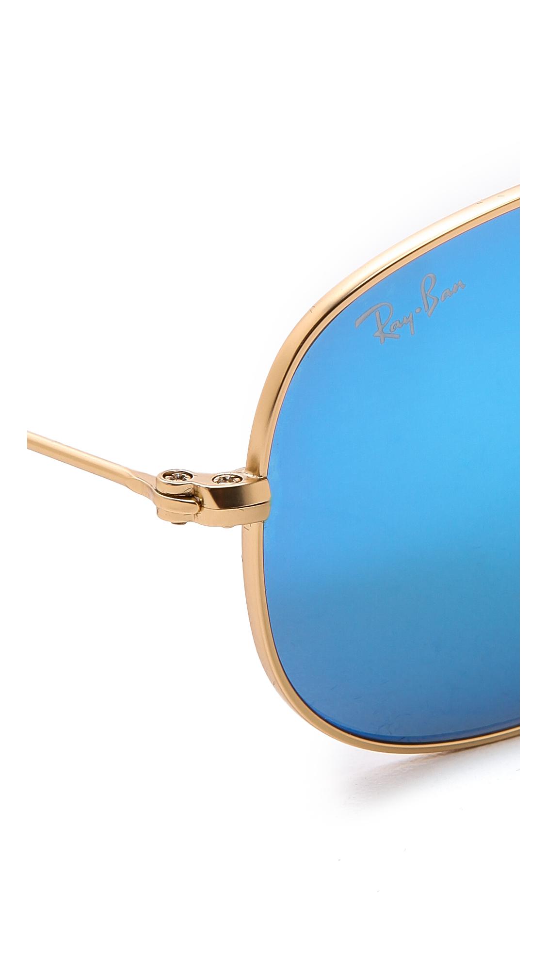 blue aviator ray bans  Ray-Ban Mirrored Shrunken Aviator Sunglasses