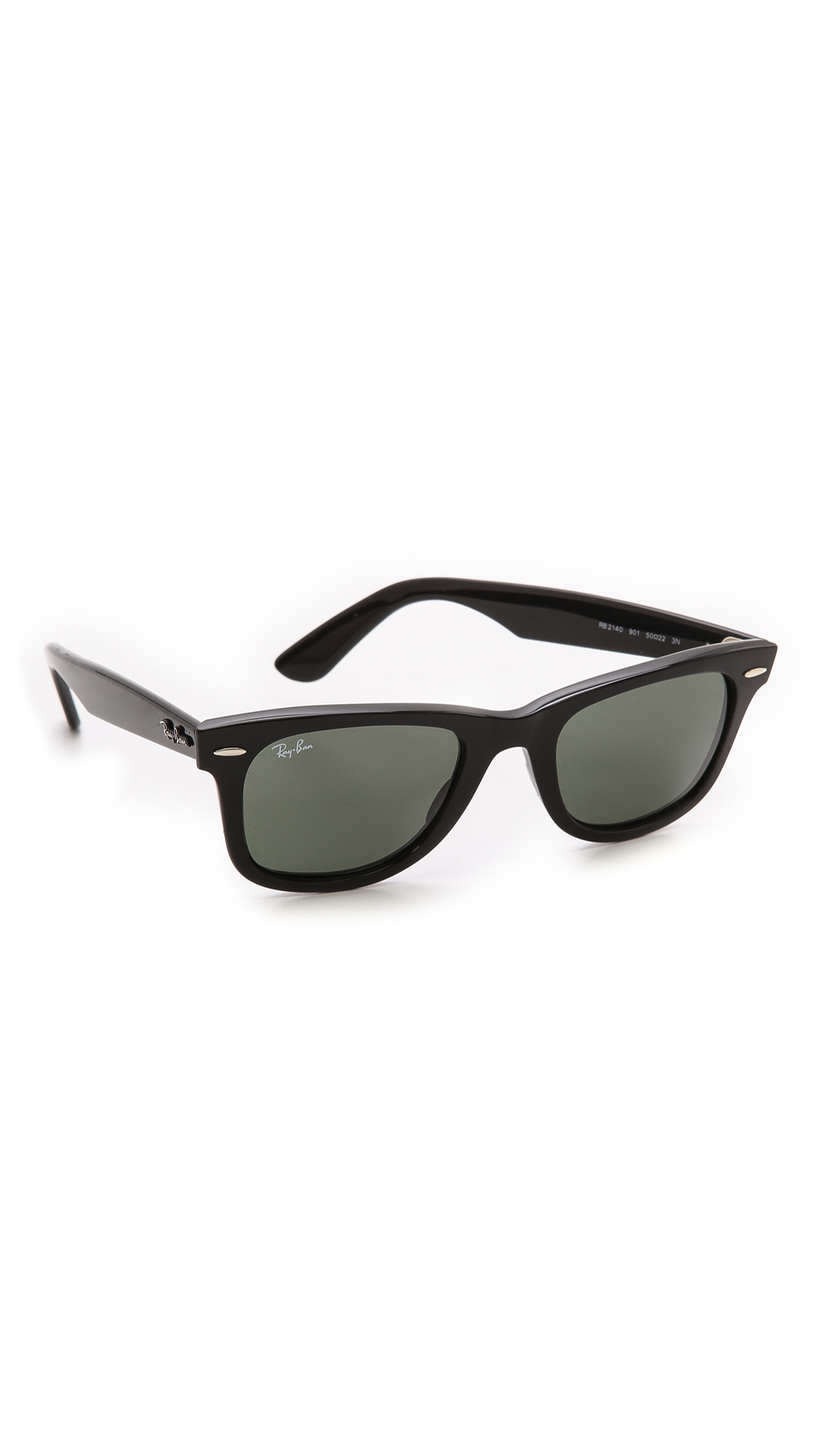 RAY BAN SMALL NEW WAYFARER 52MM SUNGLASSES - BLACK RUBBER/ CRYSTAL ...