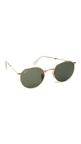 Ray-Ban Icons Round Sunglasses In Gold/Green