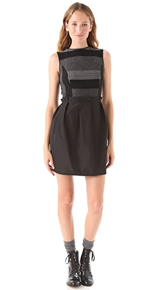 Richard Chai Love Sleeveless Dress with Taffeta Skirt