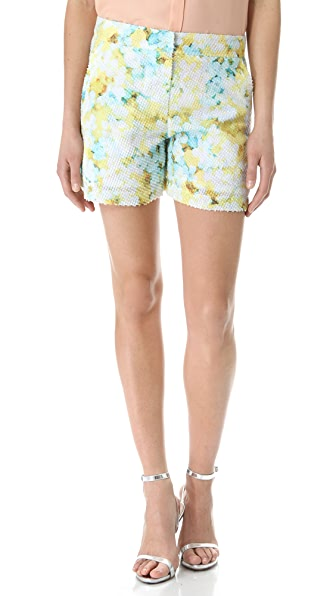 Richard Chai Love Layered Floral Flared Shorts