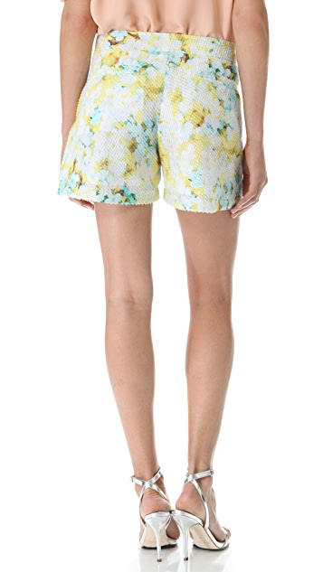 Richard Chai Love Layered Floral Flared Shorts