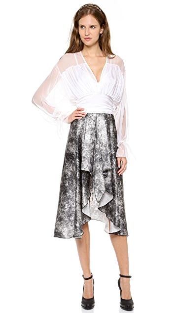 Rodarte Printed Acid Wash Skirt