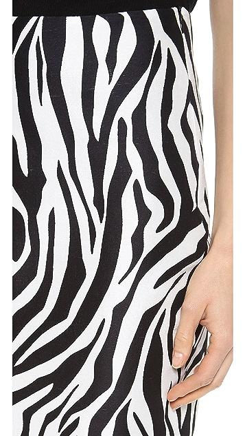 Rodarte Printed Silk Pencil Skirt