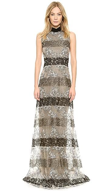 Rodarte Stripe Lace Gown