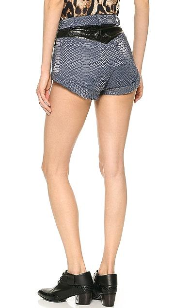 Rodarte Laminated Snake Denim Shorts