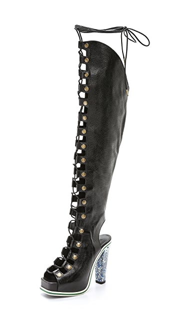 Rodarte Black Embossed Over the Knee Lace Up Boots