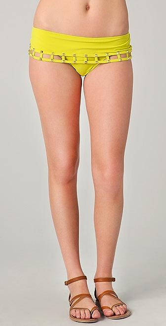 Red Carter Studded Hipster Bikini Bottoms