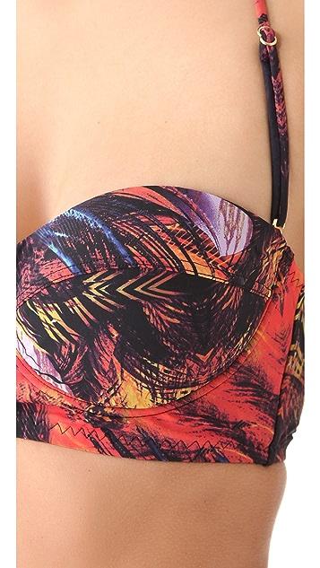 Red Carter Birds of Paradise Bikini Top