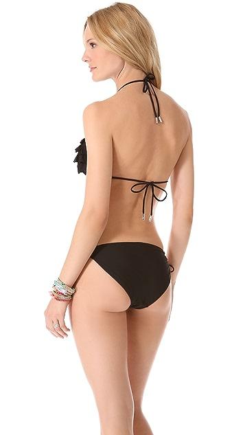 Red Carter Layer Cake Triangle Bikini Top