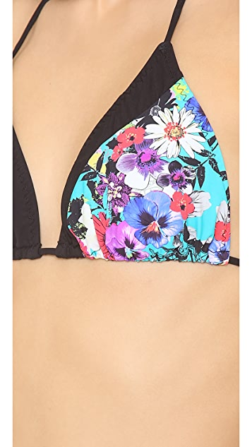 Red Carter Floriculture Triangle Bikini Top