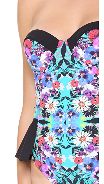 Red Carter Floriculture Peplum One Piece Swimsuit