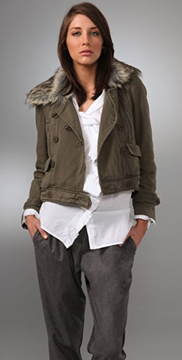 Rebecca Taylor Bomber Jacket with Faux Fur