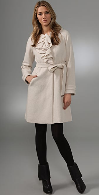 Rebecca Taylor Belted Ruffle Coat
