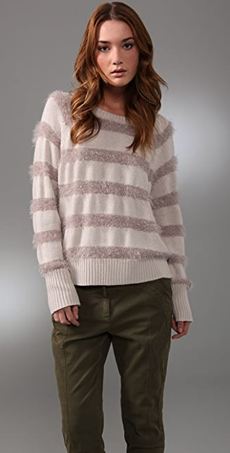Rebecca Taylor Sparkle & Stripes Sweater