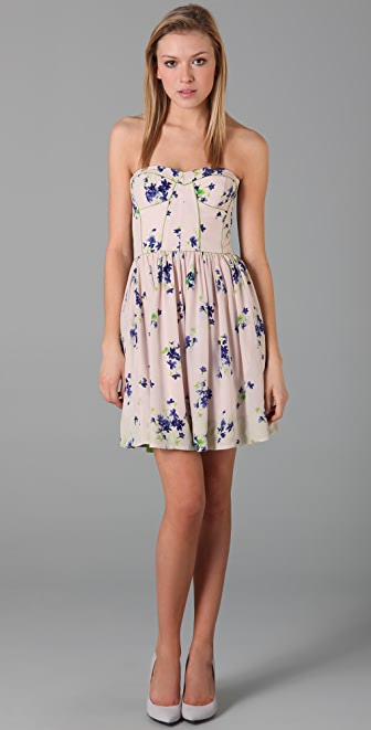 Rebecca Taylor Strapless Floral Dress
