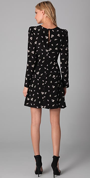 Rebecca Taylor Ghost Flower Print Ruffle Dress