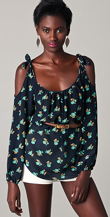 Rebecca Taylor Floral Blouse with Cutout Shoulders