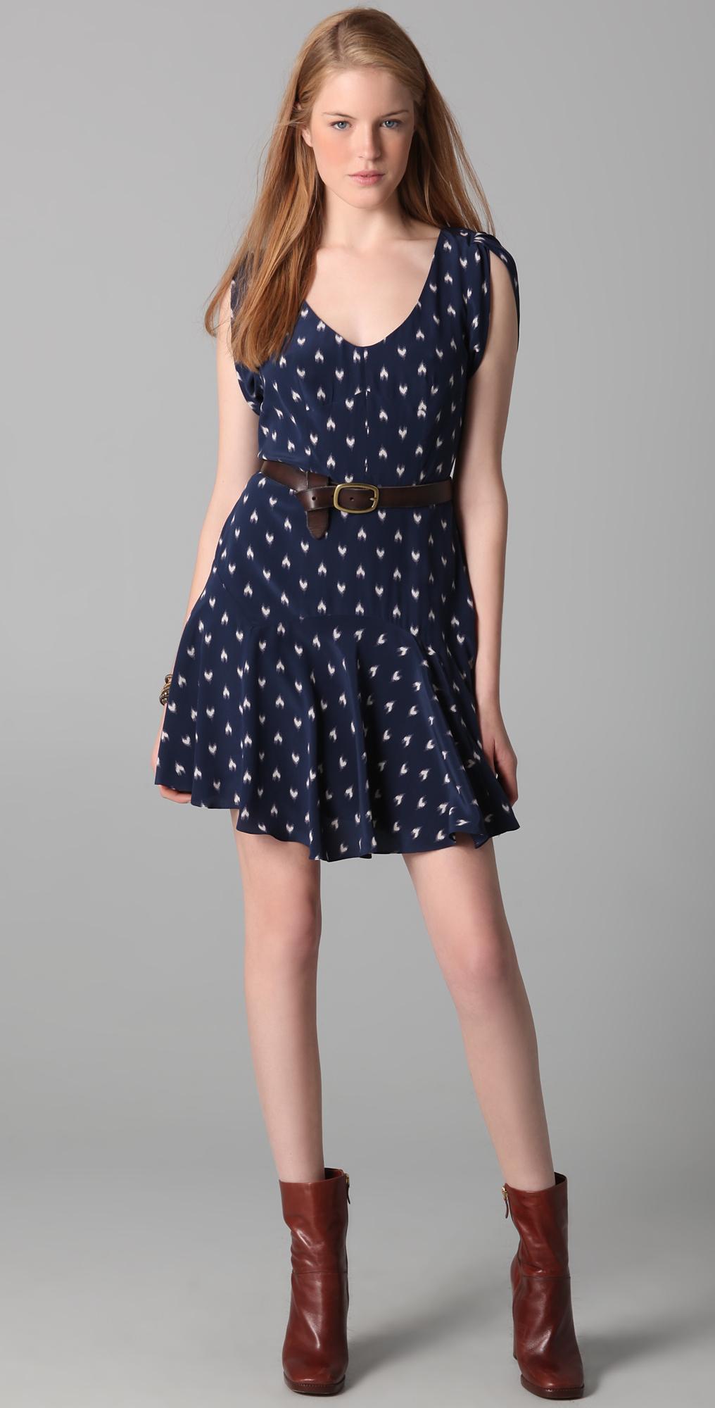 Rebecca Taylor Ikat Heart Printed \'40s Dress | SHOPBOP