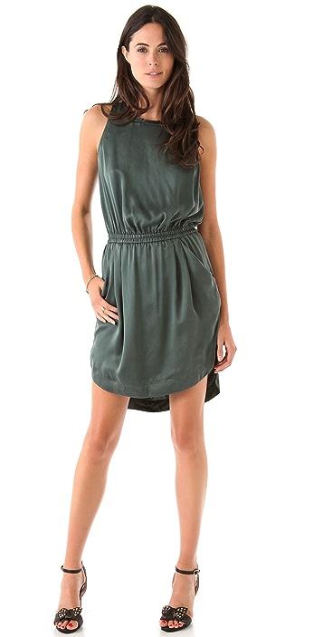 Rebecca Taylor Leather Trim Hi Lo Dress