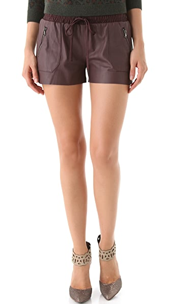 Rebecca Taylor Leather Track Shorts