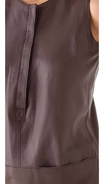 Rebecca Taylor Leather Sleeveless Dress