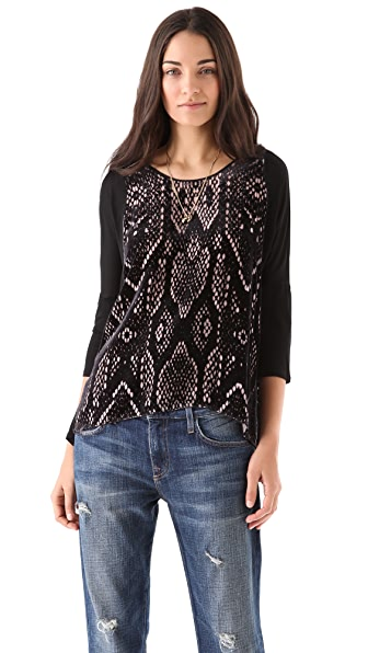 Rebecca Taylor Snake Burnout Slouchy Top