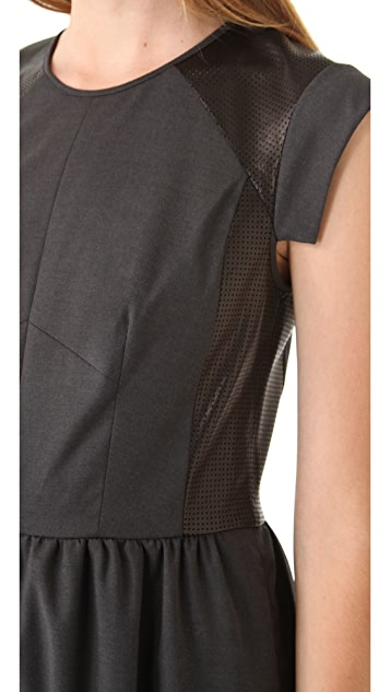 Rebecca Taylor Twill & Leather Perforated Dress