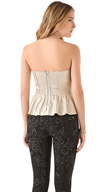 Rebecca Taylor Leather Bustier Top