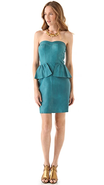 Rebecca Taylor Leather Bustier Dress